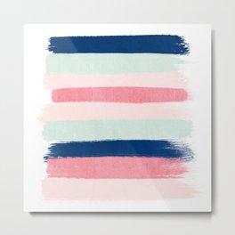 Painted stripes trendy color palette minimal striped decor nursery home Metal Print