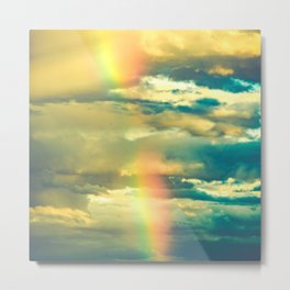 Rainbow Blue Sky Clouds Metal Print