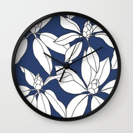 Rhododendrons Before the Bloom, Line Drawing, White Petals on Navy Blue Wall Clock