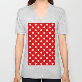 Polka Dots (White & Classic Red Pattern) Unisex V-Neck