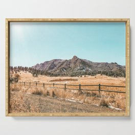 Flations Boulder // Colorado Mountain Landscape Fresh Snow Autumn Fence Teal Sky Serving Tray