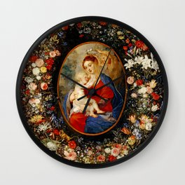 Peter Paul Rubens – The Virgin and Child in a Garland of Flower Wall Clock