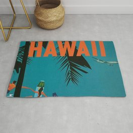 Surfing Hawaii - Jet Clippers to Hawaii Vintage Travel Poster Rug