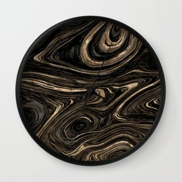 Black and gold Liquid Marble Watercolor Wall Clock