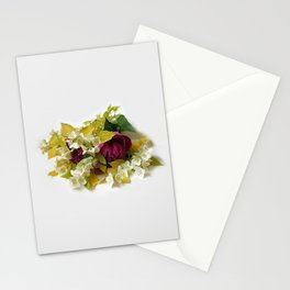 Golden Mock Orange and Pink Peonies Stationery Cards