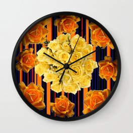 GOLDEN & YELLOW ROSES DARK STRIPES ART Wall Clock