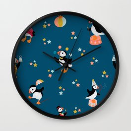 A Circus of Puffins Wall Clock