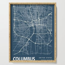 Columbus Blueprint Street Map, Columbus Colour Map Prints Serving Tray