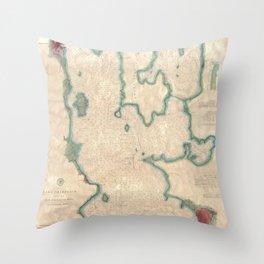 Vintage Map of Lake Champlain (1874) Throw Pillow