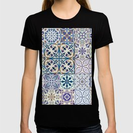 Big set of tiles in portuguese, spanish, italian style. Vintage abstract floral illustration patttern. T-shirt