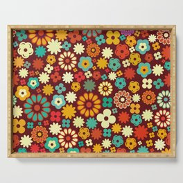 Lots of colorful flowers Serving Tray