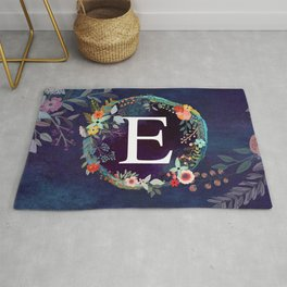 Personalized Monogram Initial Letter E Floral Wreath Artwork Rug