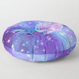 The Celestial Chambered Nautilus Floor Pillow