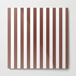 Vertical Stripes (Brown & White Pattern) Metal Print