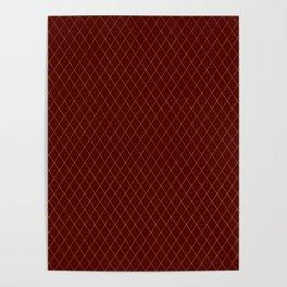 Luxury Gold Argyle - Crimson (Small Pattern) Poster