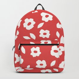 Simple Hand Cut Floral | Red Backpack