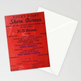 1906 Rocky Point Amusement Park Shore Dinner Hall New England Claim Bake Menu, Warwick, Rhode Island Stationery Cards