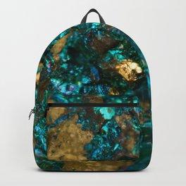 Teal Oil Slick and Gold Quartz Backpack