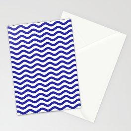 Waves (Navy & White Pattern) Stationery Cards