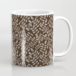 Beautiful seamless ash leaves silver endless foliage pattern Coffee Mug