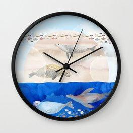 Seals, Sand, Ocean - Surrealist Dreams Wall Clock