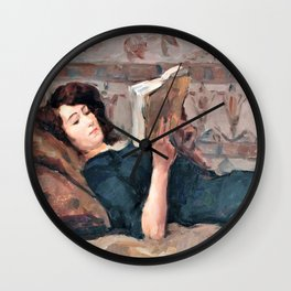 Isaac Lazarus Israels - Reading Woman On A Couch - Digital Remastered Edition Wall Clock