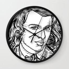 DANTE GABRIEL ROSSETTI ink portrait Wall Clock