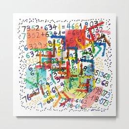 Number Confetti Metal Print