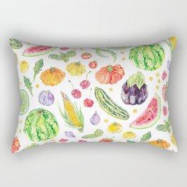 Summer Harvest Pattern White Rectangular Pillow