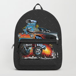 Classic hotrod 57 gasser drag racing muscle car cartoon Backpack