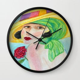 Lady With The Yellow Hat Wall Clock