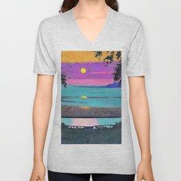 Felix Edouard Vallotton - Sunset at Grace, orange and violet sky - Digital Remastered Edition Unisex V-Neck