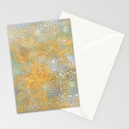gold arabesque vintage geometric pattern Stationery Cards