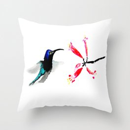 Hummingbird and Honeysuckle Throw Pillow