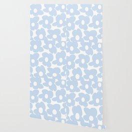 Large Baby Blue Retro Flowers White Background #decor #society6 #buyart Wallpaper
