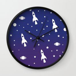 Vintage Space Rockets Wall Clock