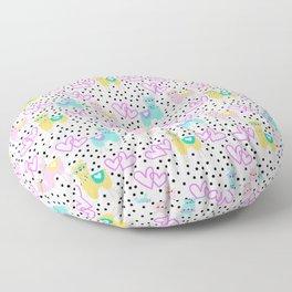 Funny cute teal pink romantic lama black polka dots Floor Pillow