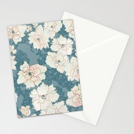 Teal and Peach Peony Floral Stationery Cards