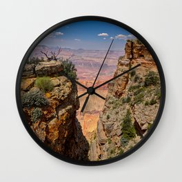 Grand Canyon view between 2 cliffs with a rock window Wall Clock