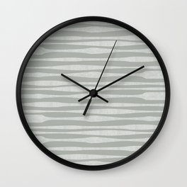 Riverbed Stripes Textured Stripe Pattern in Celadon Sage Wall Clock