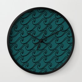 Sea Waves at Night Pattern - Dark Turquoise Wall Clock