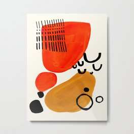 Fun Abstract Minimalist Mid Century Modern Yellow Ochre Orange Organic Shapes & Patterns Metal Print