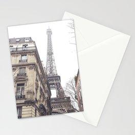 Paris streets, Eiffel tower, city skyline, industrial fine art photo, shabby chic Stationery Cards