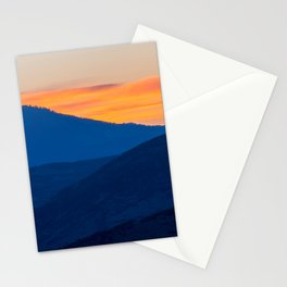 Utah Wasatch Mountains Park City Sunset Landscape Blue Orange Sky Stationery Cards