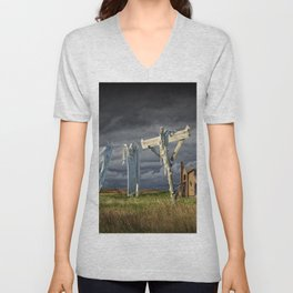 Monday Morning Wash on the Clothesline Unisex V-Neck