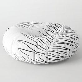 Minimalist Palm Leaves Line Drawing Floor Pillow