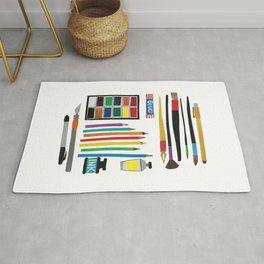 Art Supplies Collage Rug