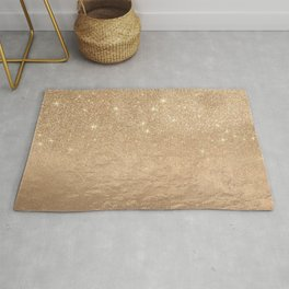 Glamorous Gold Sparkly Glitter Foil Ombre Gradient Rug