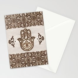 Hamsa Hand - Hand of Fatima  wooden texture Stationery Cards