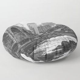 Minneapolis Skyline Black and White Floor Pillow
